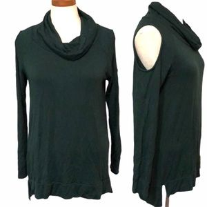 Cutout cold shoulder tunic sweater